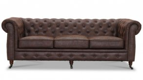 Cambridge 3,5-sits Chesterfield soffa Brunt Vintage tyg