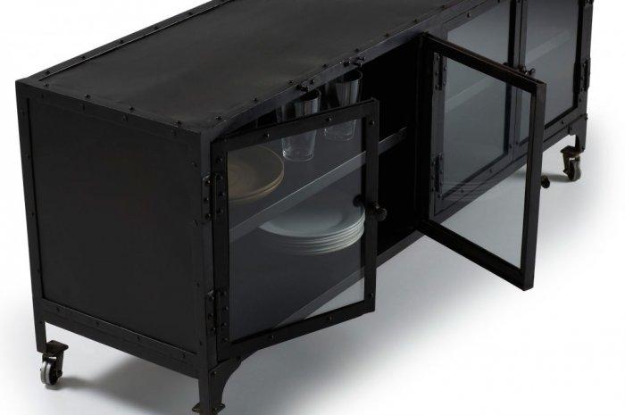 nagaat mediab nk 140 cm svart metall m bler. Black Bedroom Furniture Sets. Home Design Ideas