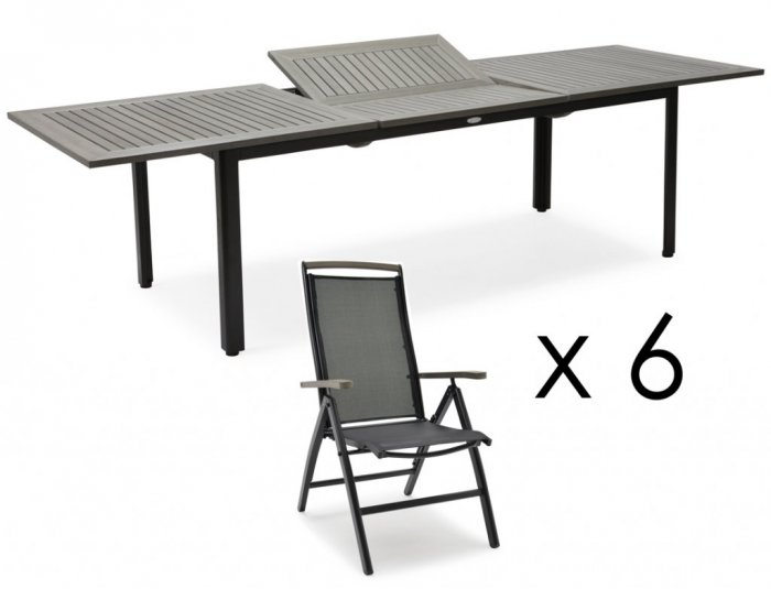 Nydala Matgrupp VitGrå Bord 90x150200 cm + 4st Pos
