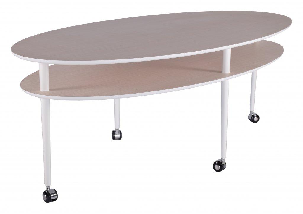 Omtalade Casper soffbord med hjul ellips ljus ek/vit - Bord - Möbler LJ-12