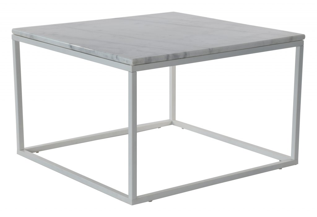 Accent soffbord marmor kvadrat, 75×75, vit vit Bord Möbler Folkhemmet com