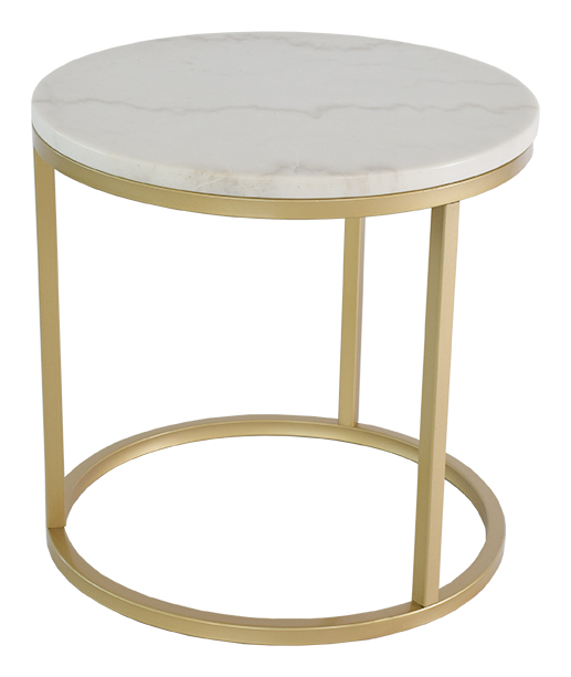 Accent soffbord marmor runt, u00d850, vit mässing Bord Möbler Folkhemmet com