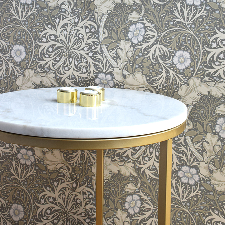 Accent soffbord marmor runt, Ø50, vit/mässing - Bord - Möbler ...