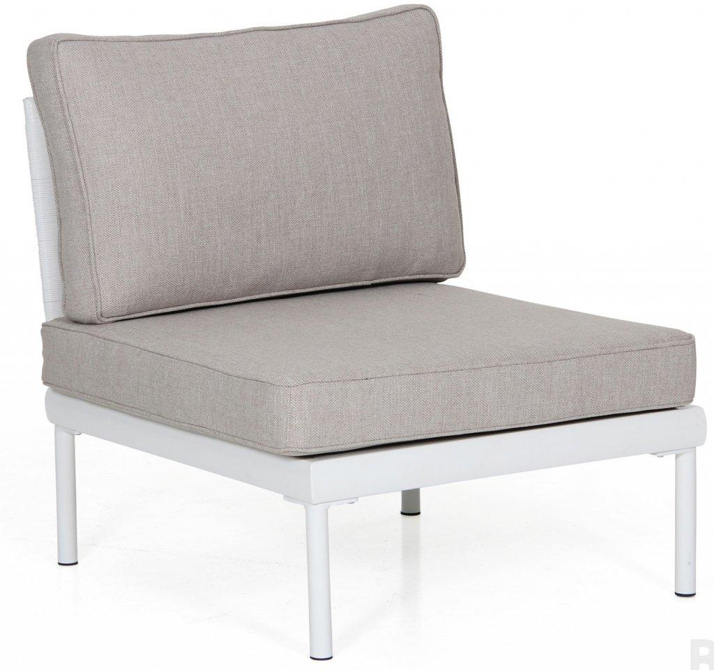 Ajaccio soffa mittdel vit aluminium, grÃ¥ konstrotting med grÃ¥ ... : bygga trädgårdsmöbler : Trädgård