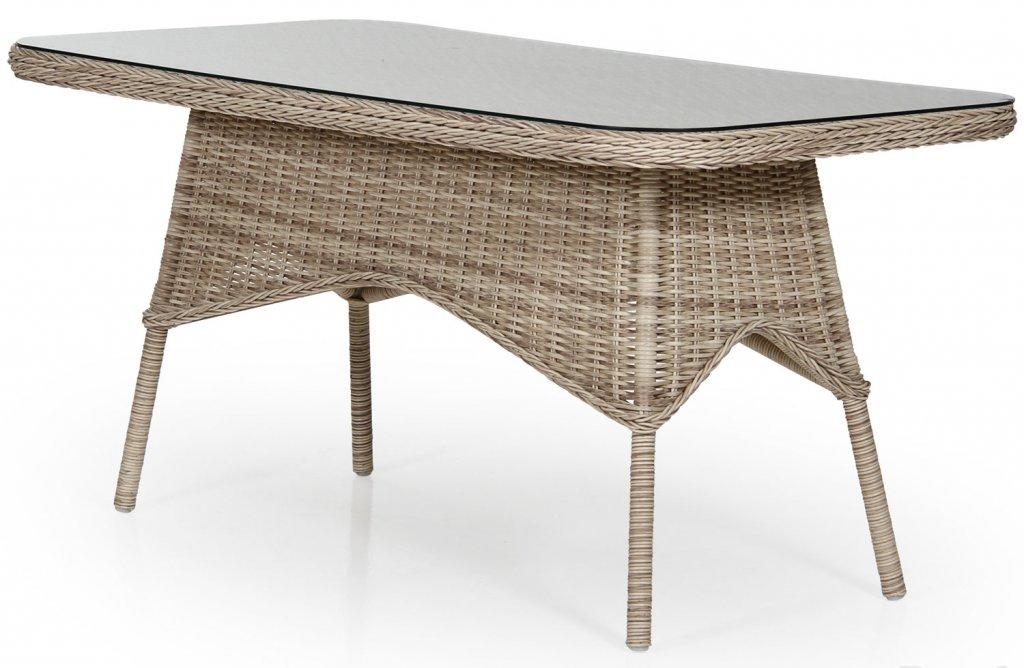 Modesto bord 150x80 Beige konstrotting, glasskiva