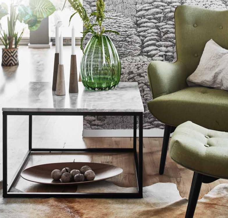 Accent soffbord marmor kvadrat, 75×75, vit svart Bord Möbler Folkhemmet com