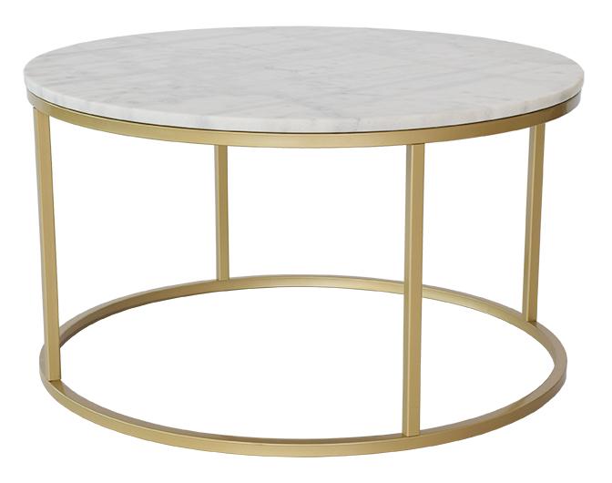 Omtyckta Accent soffbord marmor runt, Ø85, vit/mässing - Bord - Möbler PP-66