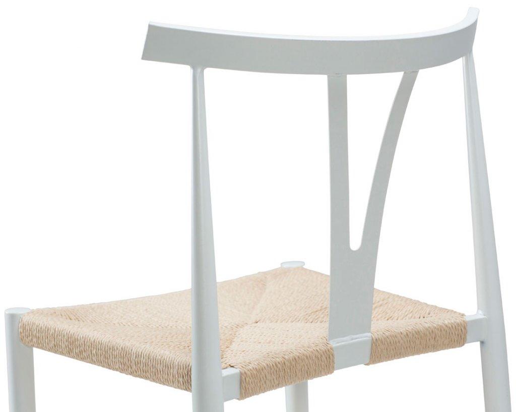 Alfa stol vit metall, naturfärgad sits - Möbler - Folkhemmet.com
