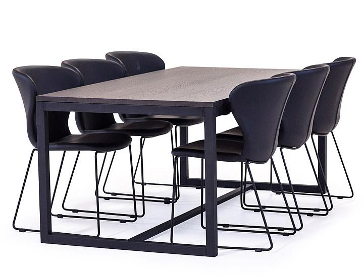 Boston Matbord Brunbetsad Ek Svart Metall Bord Möbler Folkhemmet Com