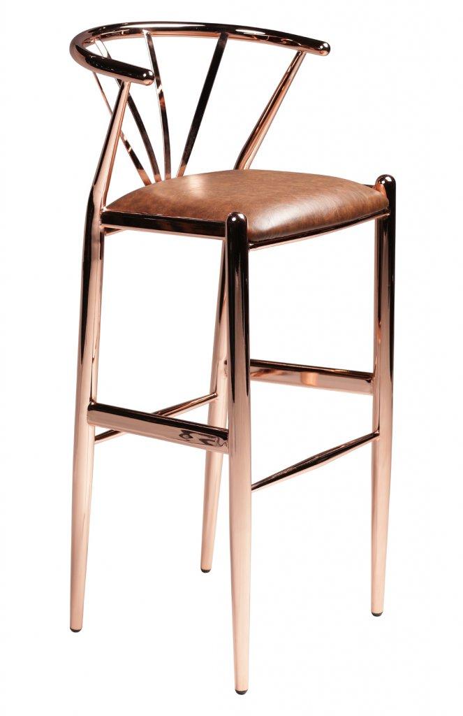 Delta Barstol Koppar, sits brunt konstläder