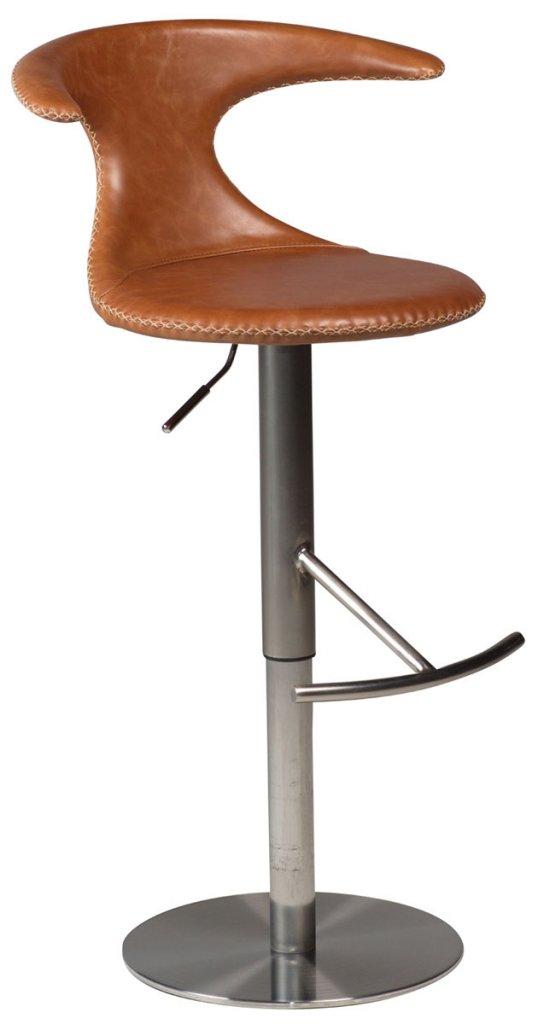 Dolphin barstol Ljusbrunt läder, borstat stål Möbler