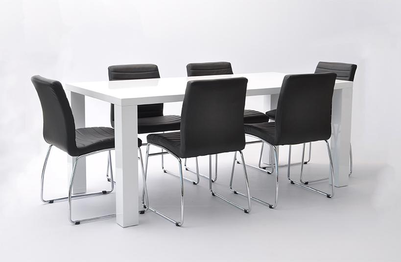 Matgrupp Wien, Deco (1st matbord vit, 6 stolar svarta) Möbler Folkhemmet com