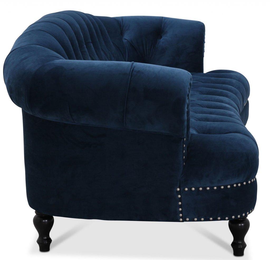 chesterfield soffa blå sammet