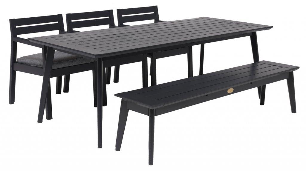 Stoltö Matgrupp Grå Inkl. Bord 220x90 cm + 3st Stolar & Bänk